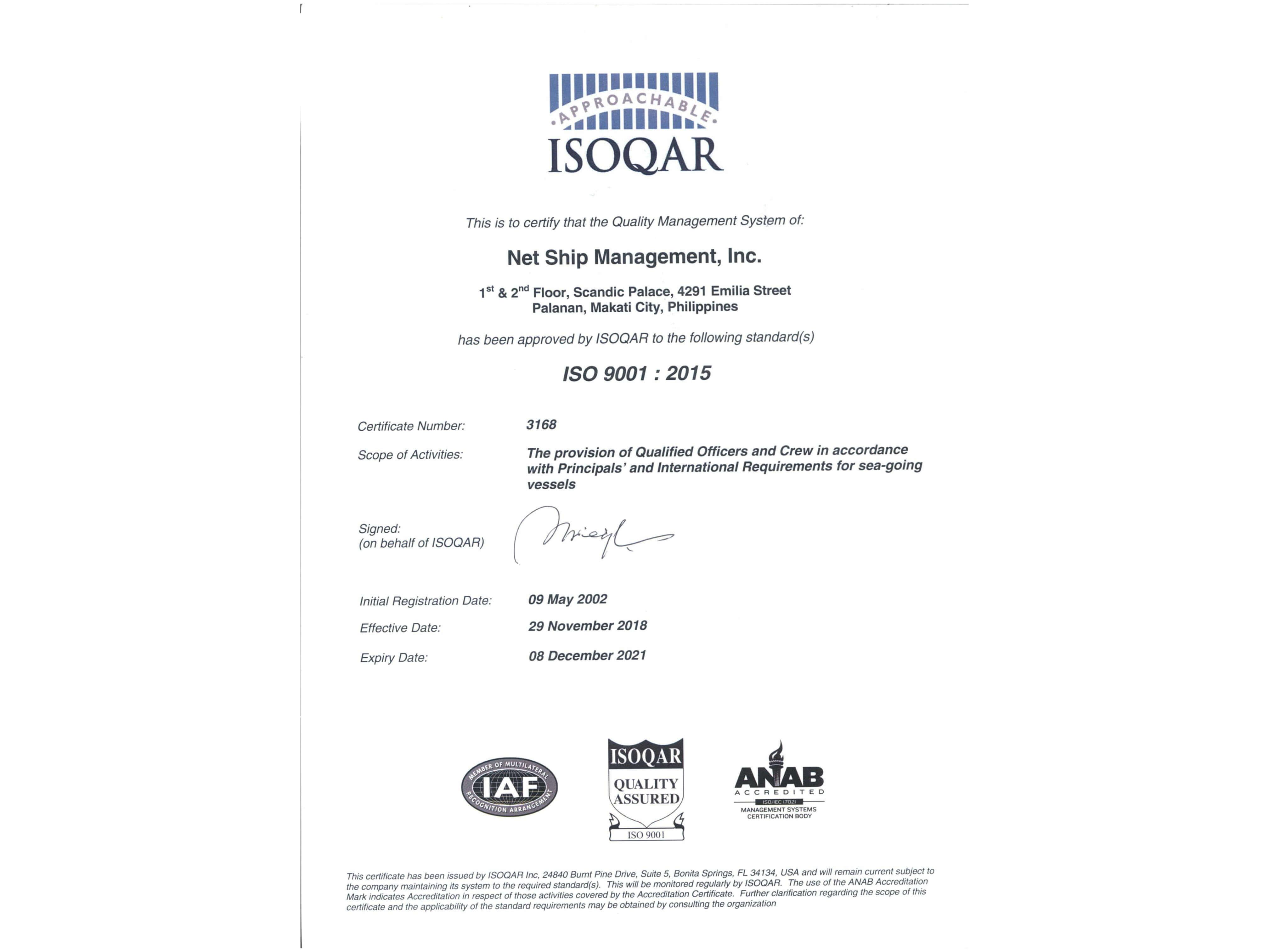 ISO Certificate QAR
